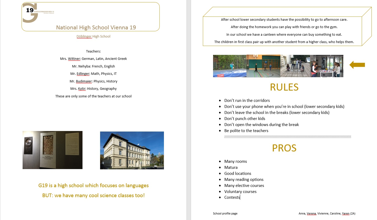 School profile page III